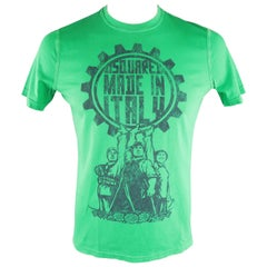 """DSQUARED2 Size L Green Graphic """"Made in Italy"""" Cotton T-shirt"""