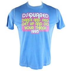 DSQUARED2 Size L Blue Graphic Dance & Sing 1995 Cotton T-shirt