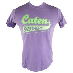 """DSQUARED2 Size L Purple Graphic """"Caten Brothers"""" Cotton T-shirt"""