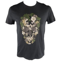 ALEXANDER MCQUEEN Size M Black Skull Cotton T-shirt