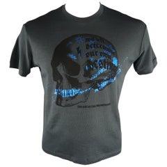 DSQUARED2 Size L Charcoal Graphic Cotton Blend T-shirt