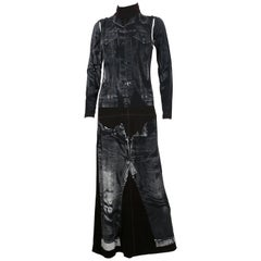 Jean Paul Gaultier Trompe L'oeil Maxi Dress with Detachable Sleeves