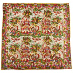 Silk Pongee Printed Scarf With Kokoshnik and Chinoiserie - Manufacture Hausmann