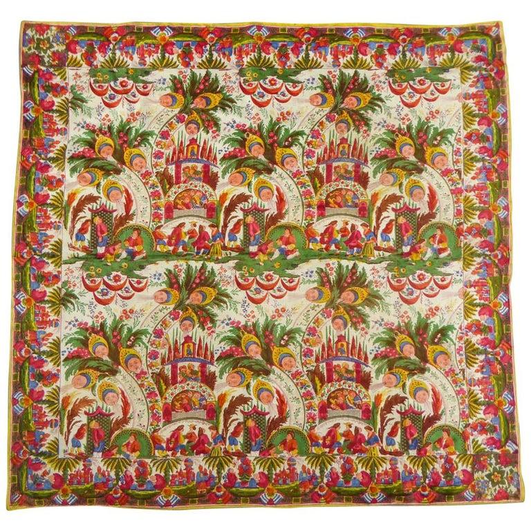Silk Pongee Printed Scarf With Kokoshnik and Chinoiserie - Manufacture Hausmann