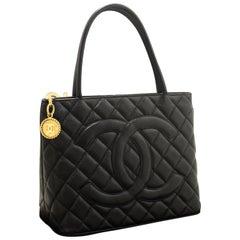 CHANEL Caviar Gold Medallion Shoulder Bag Leather Black Tote