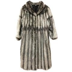 Long colored cross saga mink fur coat. Light gray / black (14)