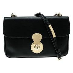 Ralph Lauren Black Leather Ricky Chain Shoulder Bag