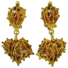 Christian Lacroix Vintage Caged Heart Dangling Earrings