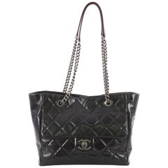 Chanel Duo Color Front Flap Shopping Tote Quilted Glazed Calfskin Small