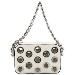 Prada Grommet Chain Shoulder Bag Vitello Daino Small