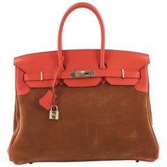 Hermes Birkin Handbag Fauve Grizzly and Sanguine Swift with Permabrass Hardware
