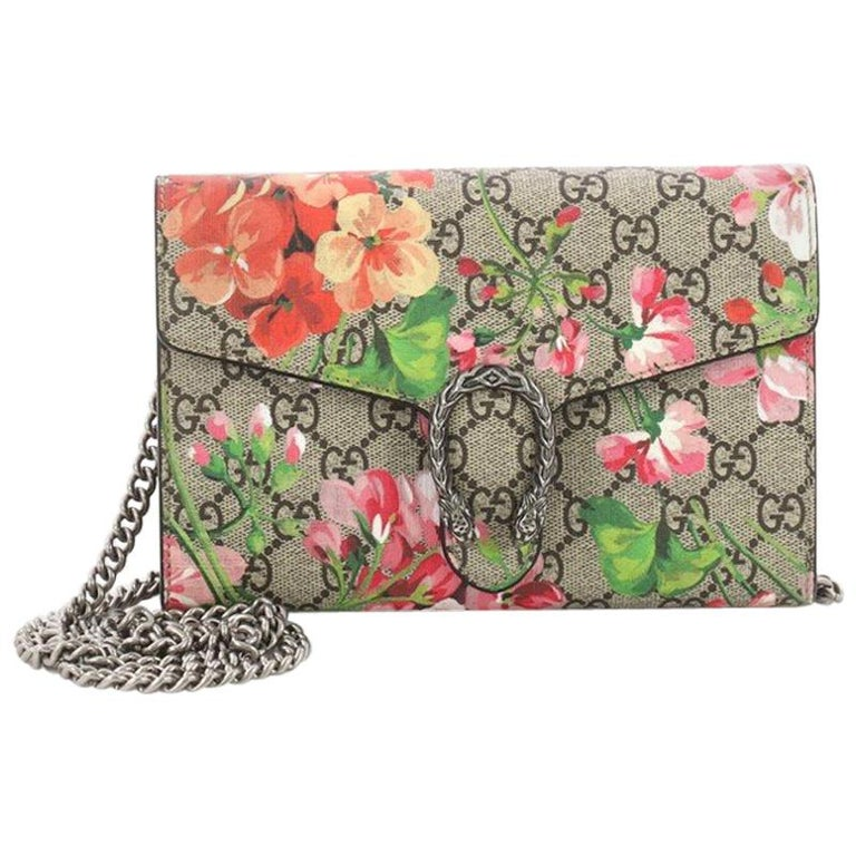 61019201b7b Gucci Dionysus Chain Wallet Blooms Print GG Coated Canvas Small For Sale