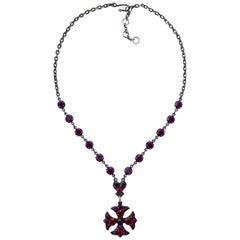 Dark Red Glass Maltese Cross Necklace