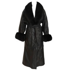 Adolfo Black Leather and Fox Long Winter Coat with Belt