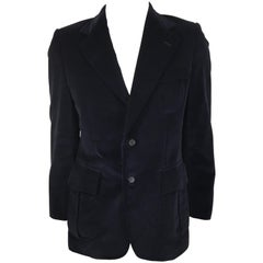 Yves Saint Laurent velvet navy blazer.