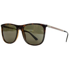 Gucci Brown Square-Frame Acetate Sunglasses W/ Metal Red/Green Arm Web