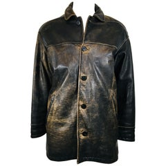Men's Andrew Marc Faded Brown Leather jacket.