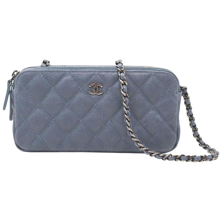 bd27a3967005f7 Chanel Double zip WOC Grey/Blue Caviar Cross body Clutch at 1stdibs
