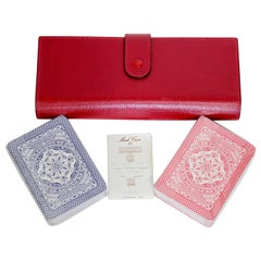 New Mark Cross Red Saffiano Leather Game Set Travel Playing Cards Notepad & Pen