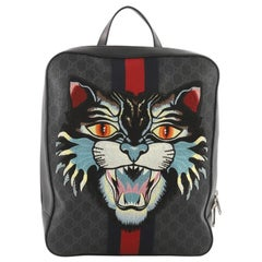 Gucci Angry Cat Web Backpack GG Coated Canvas with Applique Medium