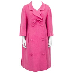 1959 Spring Collection Christian Dior Pink Wool Haute Couture Coat
