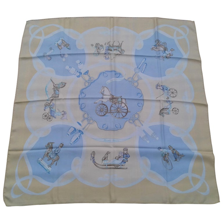 a007a0afdbf Hermès Silk Scarf Vintage Les Jouets Mobiles Moving Toys Yellow 90 cm RARE  For Sale