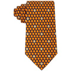 HERMES Navy Blue & Orange Fruit Polka Dot Print 5 Fold Silk Necktie Tie 5300 TA