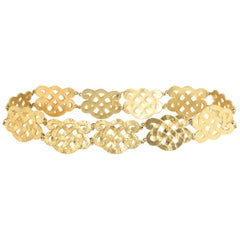Chanel Wide Gold Plated Arabesque Style Medallion Belt