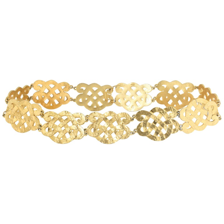 Chanel Wide Gold Plated Arabesque Style Medallion Belt For Sale