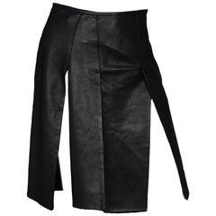Prada Black Leather Car Wash Paneled Skirt Sz 40