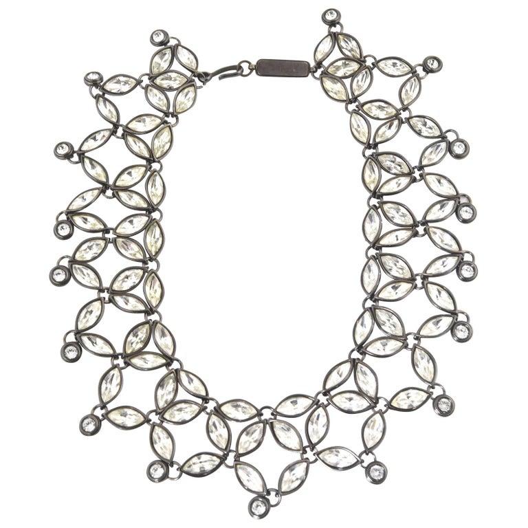 e735ed18356 Yves Saint Laurent YSL Limited Edition Rhinestone Bib Necklace For Sale