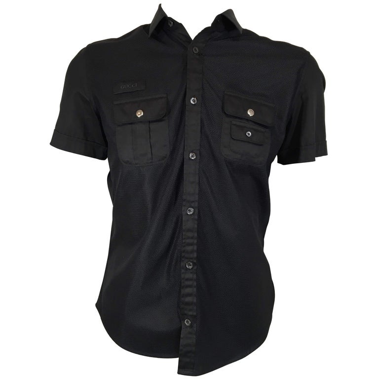 35f28174 Men's Gucci Black Short Sleeve Button Downs For Sale at 1stdibs