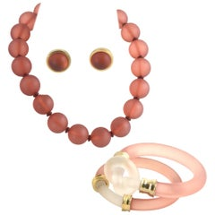 1980s Amber Lucite Suite, Necklace, Bracelets and Earrings