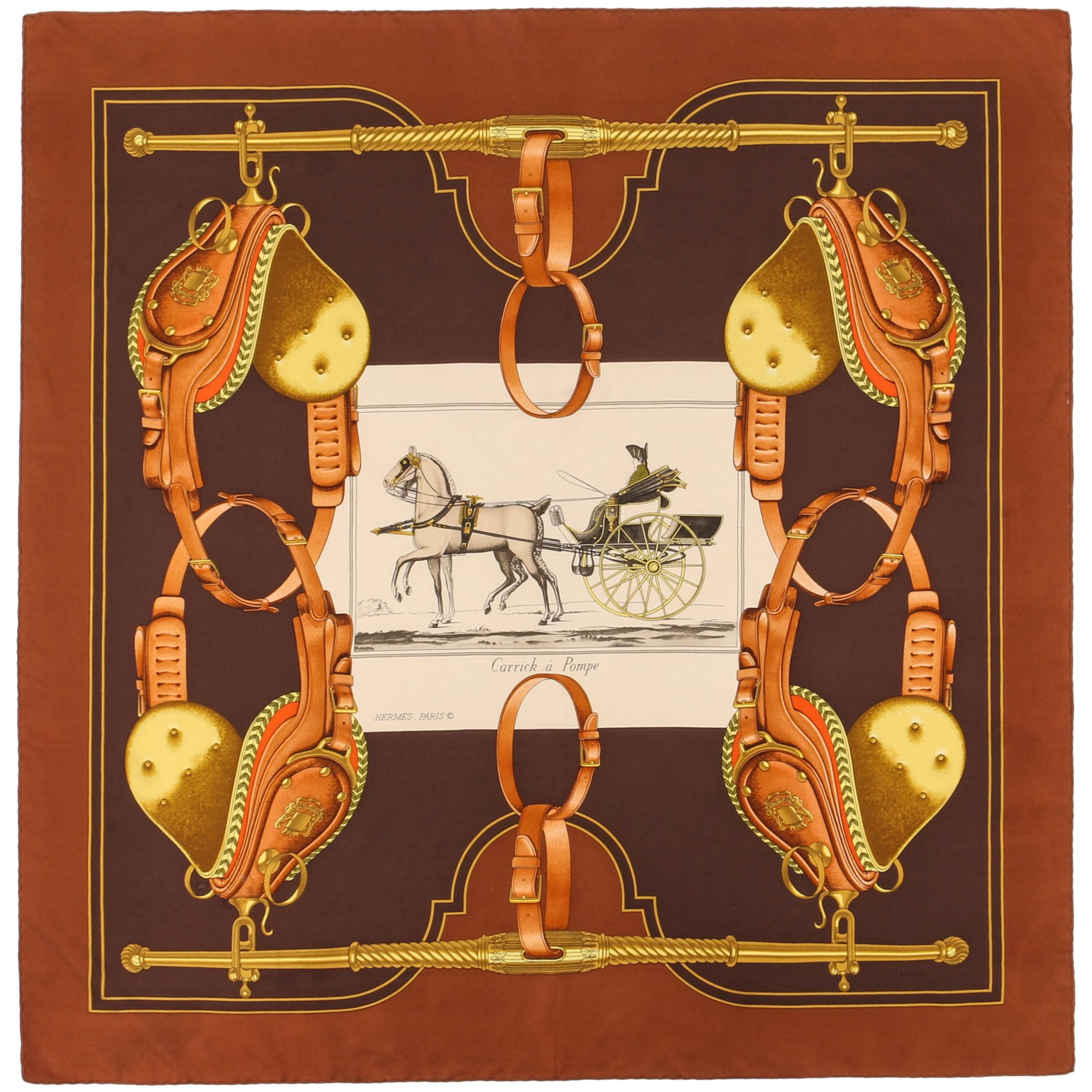 """HERMES Philippe Ledoux c.1973 """"Carrick A Pompe"""" Brown Racing Carriage Silk Scarf"""