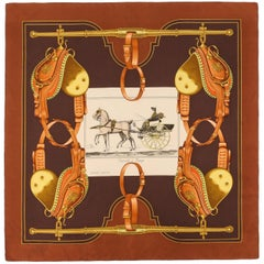 "HERMES Philippe Ledoux c.1973 ""Carrick A Pompe"" Brown Racing Carriage Silk Scarf"