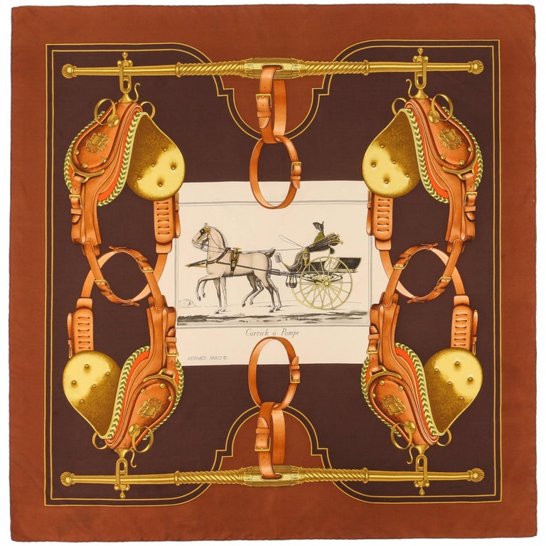 """HERMES Philippe Ledoux c.1973 """"Carrick A Pompe"""" Brown Racing Carriage Silk Scarf For Sale"""