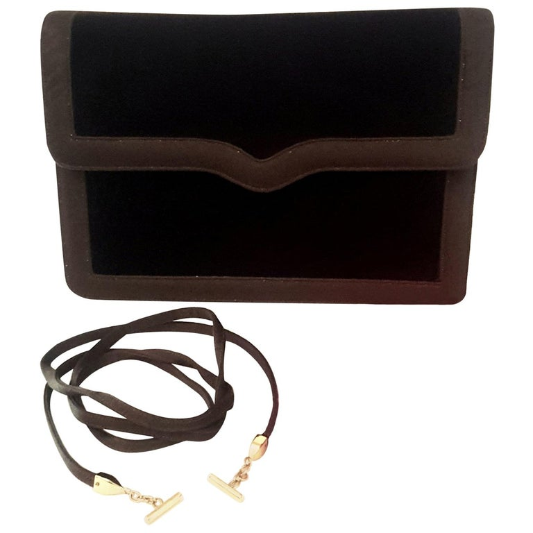 Judith Leiber Brown Velvet  & Satin Shoulder Convertible Clutch Bag