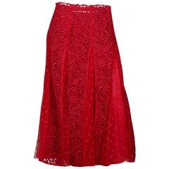 Valentino Red Lace Midi Skirt W/ Slip Sz 6