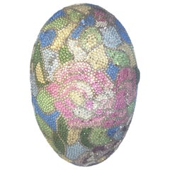 "Judith Leiber ""Easter"" Egg Decorated with Swarovski Created Pink Flowers"