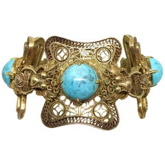 Circa 1960s Chinese Gold Over Sterling Turquoise Dragon Bracelet