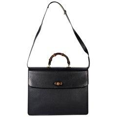 Black Gucci Leather Messenger Bag