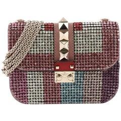 Valentino Glam Lock Shoulder Bag Embellished Leather Medium