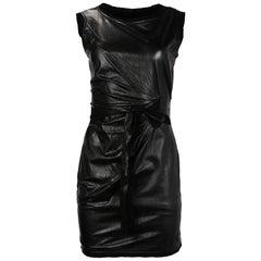 DVF Diane Von Furstenberg Black Leather Sleeveless Ruched Front Dress Sz 2
