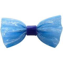 1970s Lea Stein Blue Snake Print Bow Tie Brooch