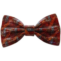 1970s Lea Stein Multicolored Bow Tie Brooch