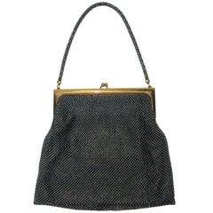 1950's Whiting & Davis Gunmetal Black & Gold Mesh Evening Handbag