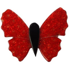 1970s Lea Stein Red Glitter Flake Butterfly Brooch