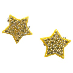 1970s Lea Stein Jewel Encrusted Mini Star Pins
