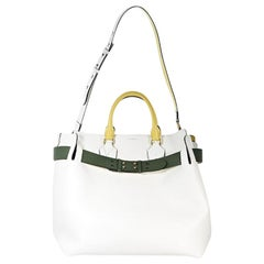 White Burberry Large Leather Satchel