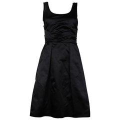 Prada Black Satin Silk Sleeveless Dress Sz 40